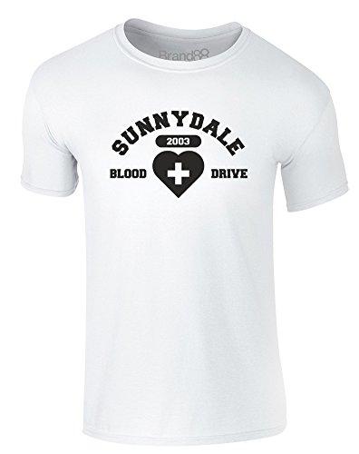 Brand88 - Blood Drive, Erwachsene Gedrucktes T-Shirt Weiß/Schwarz