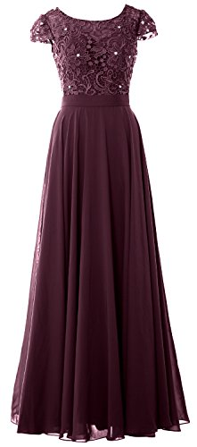 MACloth Women Cap Sleeve Mother of Bride Dress Vintage Lace Evening Formal Gown Plum