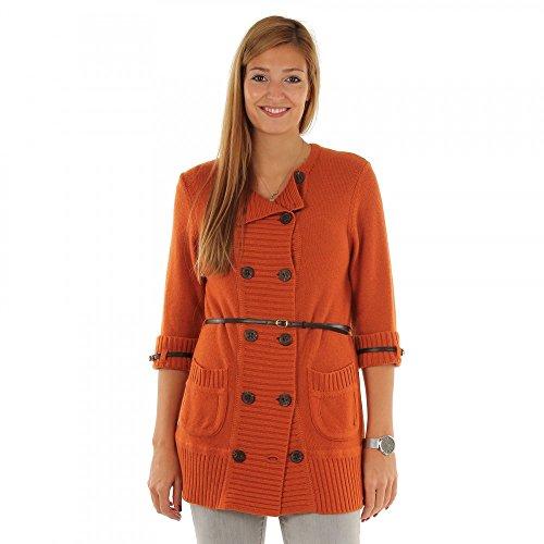 BLACKY DRESS Damen Strickjacke Cardigan, Farbe:Orange;Größe:36