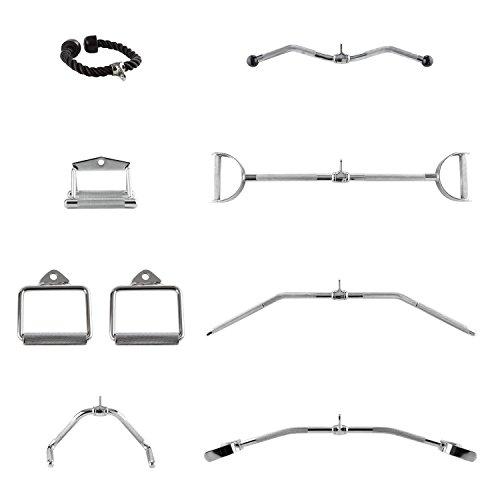 CAPITAL SPORTS Mastergym - Set de 7 accessoires pour appareil à charge guidée, poignées pour poulie rack musculation, câble station traction - acier chromé