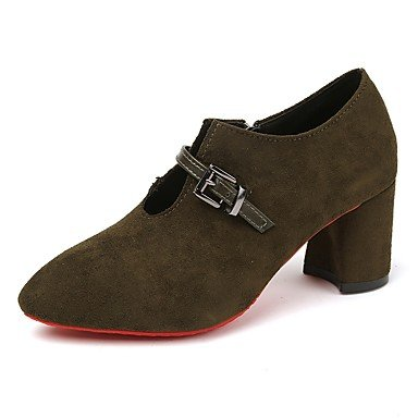 RTRY Donna Tacchi Scarpe Formali Suede Autunno Casual Office &Amp; Carriera Dress Camminando Chunky Heel Khaki Army Green Nero 2A-2 3/4In US8 / EU39 / UK6 / CN39