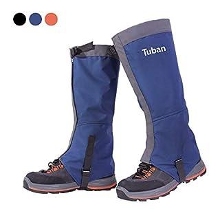 Amorus Gamaschen, 420D Nylon Wasserdichte atmungsaktive Hosen Gamaschen für Outdoor Wandern, Klettern, Schneewandern, und Jagd (Blau, L)