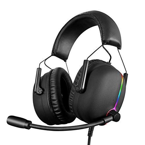 PC Gaming Kopfhörer, Professionelle HI-FI-Kopfhörer, Erfahrung 7.1 Surround-Stereo-Sound USB-Computer Gaming Headset mit Mikrofon, Over-the-Ear-Geräuschisolation, Atmungs-LED-Licht für PC schwarz Headset Computer Zubehör