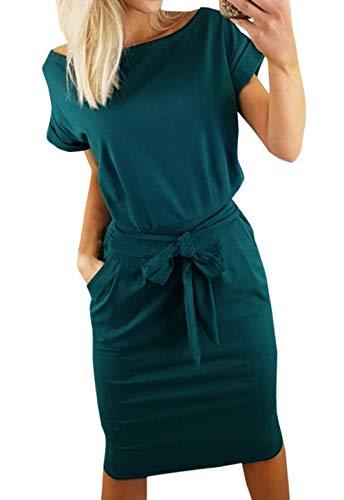 it Kleid mit Gürtel Elegant Rundhals Midi Kleider Blusenkleider Ballkleid Festkleid Frauen Langarm Tasche Wickelkleider Abendkleider Partykleid (M, Dunkelgrün 1) ()