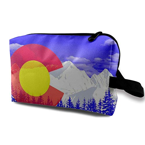 Colorado State Flag Mountains Multifunction Travel Makeup Bags Pencil Case Handbag Organizers With Zipper -