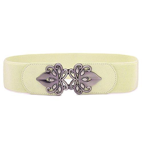Donna cintura elastica largo vintage moda fibbia accessori cintura decorativa casual (taglia unica, beige)