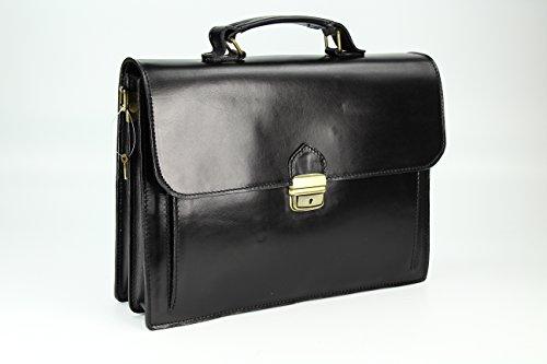 """BELLI """"Design Bag Tennessee"""" mittelgroße Echt Nappa Leder Businesstasche unisex - Farbauswahl - 37x27x12 cm (B x H x T) Schwarz"""