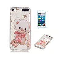 For iPod Touch 5 Case, iPod Touch 6 Case [With Tempered Glass Screen Protector],Fatcatparadise(TM) Anti Scratch Transparent Soft Silicone Cover Case ,Colorful Cute Pattern Ultra Slim Flexible Non-Slip Design TPU Protective [Crystal Clear] Shell Bumper Case Prefect Fit For iPod Touch 5/6th(Cute Bear)