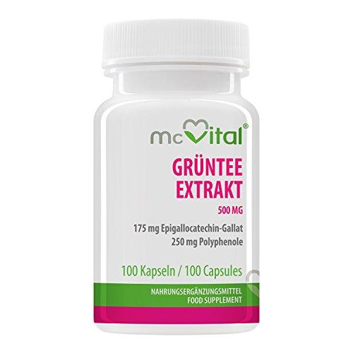 Grüntee Extrakt 500 mg - 175 mg Epigallocatechin-Gallat, 250 mg Polyphenole - 100 Kapseln