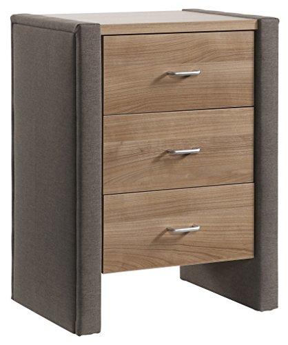 BELVANDEO Nachttisch Mondo 1000 I 3 Holz Schubladen I Textil Leder - braun