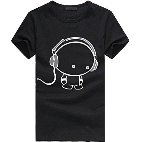 Elecenty Herren T-shirt Blusentop,Herrenhemden Poloshirt Kopfhörer Druck Kurzarmshirt Bluse Junge Tee T-Stücke Solide Männer Sommerhemd Tops Blusen Sweatshirt Hemd Pulli (M, Schwarz)