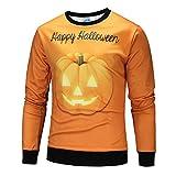 Maglione Stampa Novità Maglietta Stampata ASHOP Halloween Manica Lunga da Maglieria da Uomo Arancia M