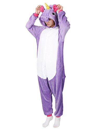 Pigiama donna uomo animale cosplay animato costume camicie da notte carnevale halloween-très chic mailanda (s per altezza 148-160cm, viola unicorno)