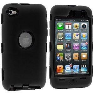 Importer520(TM) 3-teilig Deluxe Hybrid Premium-Rugged Hard Soft Case Skin Cover für Apple iPod Touch 4G, 4. Generation, 4. Generation 8GB/32GB/64GB, schwarz / schwarz Ipod Touch 4 Hybrid