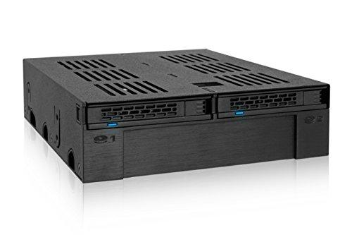 "ExpressCage MB322SP-B 2x2.5"" SATA/SAS HDD/SSD in 5,25"" Backplane-Modul mit 3,5"" HDD/Komponenten-Slot"