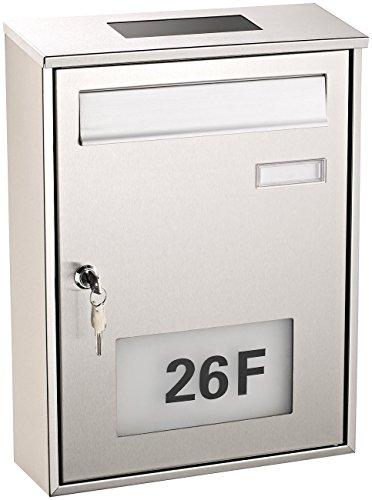 Lunartec Briefkasten beleuchtet: Edelstahl-Briefkasten mit Solar-Leucht-Hausnummer (Briefkasten mit Solarbeleuchtung)