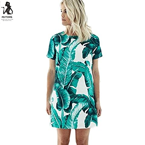 LHWY Women Sexy Dress Leaf Print Dress Short Sleeve Dress