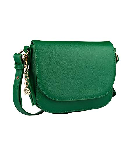 SIX Damen Handtasche, Minibag in dunklem Grün mit goldenen Details, Umhängetasche mit Klappverschluss, goldenen Mandala Anhänger (726-627) -