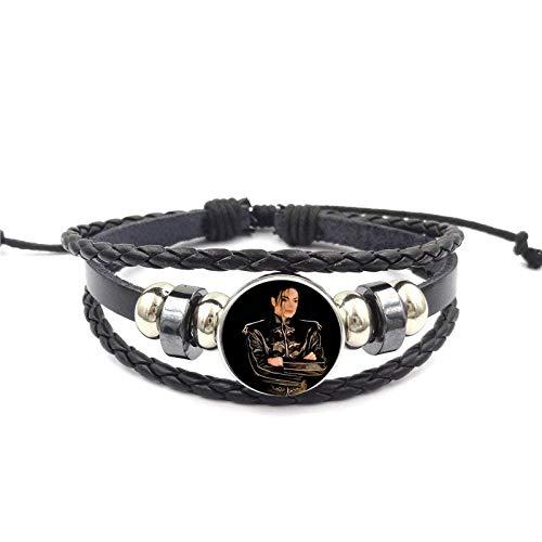 Für Frauen Hochzeitsschmuck Mit Vergoldetem Glas Cabochon Schwarz Leder Armband Armreif Michael Jackson