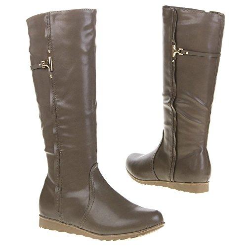 Damen Schuhe, QQ-55, STIEFEL Grau Braun