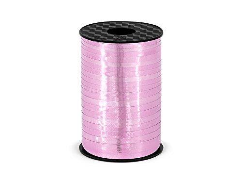 Partydeco Ruban à Patte autocollante Cadeau ou 5 mm x 225 M, Rose métallisé, Bobine