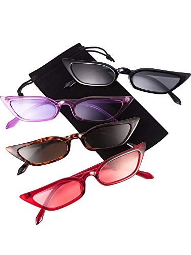 Zhanmai Retro Kleine Katzen Auge Sonnenbrille Vintage Square Shade Damen Netter Dünner Katzenauge Eyewear (4 Paar)
