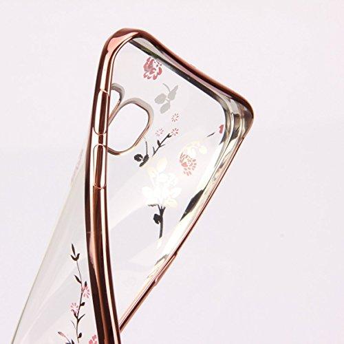Nnopbeclik iPhone 6 Plus / 6S Plus TPU Silikon Handy Hülle Schutzhülle, Bling Glitzer Sparkles Strass Diamond Floral Crystal Pinke Blume Rose Gold Rand Electroplate Plating Frame Scratch-Resistant Bum Pinke Blume Rose Gold Rand
