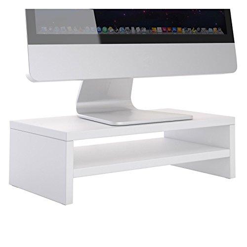 CARO-Möbel Monitorständer SUBIDA Bildschirmaufsatz Schreibtischaufsatz Bildschirmerhöhung mit Ablagefach, in weiß