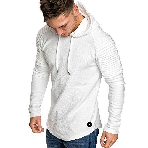 MRULIC Mode Sweatshirt Herren Plissee Slim Fit Langarm Hoodie Tops Pullover RH-009(Weiß,EU-48/CN-XL)