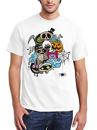 clothinx Herren T-Shirt Halloween Doodle Weiß/Bunt Größe S