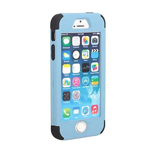 IPhone 5S/SE-Fall, Lantier 3 in 1 Heavy Duty hybrider Fall Stoß- TUFF Schlag harter Silikon Gel Cover-Fashion Quicksand Angel Eyes Schützen für Apple iPhone 5S/SE [Hellblau/Schwarz] 5S/SE Light Blue/Black