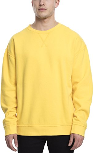 Urban Classics TB1590 Herren Pullover Oversized Open Edge Crew Chrome Yellow, L
