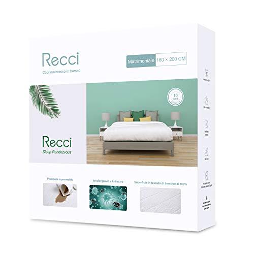 Recci coprimaterasso matrimoniale - coprimaterasso impermeabile 160x190/200, 100% bambu copri materassi, proteggi materasso, super morbido, altamente traspirante, silenzioso [ 160x190/200 cm ]