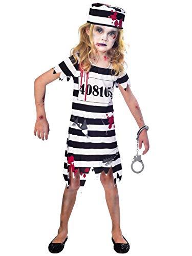 Fancy Me Mädchen weiß schwarz Blutige Zombie Gefangene unheimlich überführen Halloween Kostüm Kleid Outfit 5-12 Jahre - 7-8 Years (Halloween-kostüme Mädchen Gefangene)