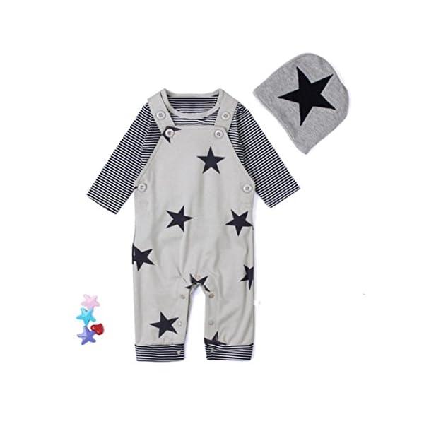 Covermason Recién Nacido Bebé Conjuntos Rayas Camisetas Pantalones de babero Sombrero (3PCS) (6M, Gris) 2