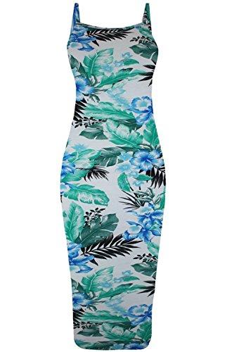 Damen Prominenten Blumenmuster Hoher Kragen Sommer Unterhemd Angepasst Riemchen Bodycon Minikleid Übergröße Grüne Blätter Blau Hibiskus