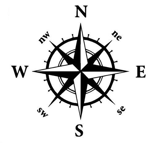 Generic Kompass Aufkleber in verschiedenen Größen Windrose Aufkleber für Caravan Wohnmobil Wohnwagen Auto oder als Wand Tattoo (35/3) (30x30cm, schwarz Glanz)