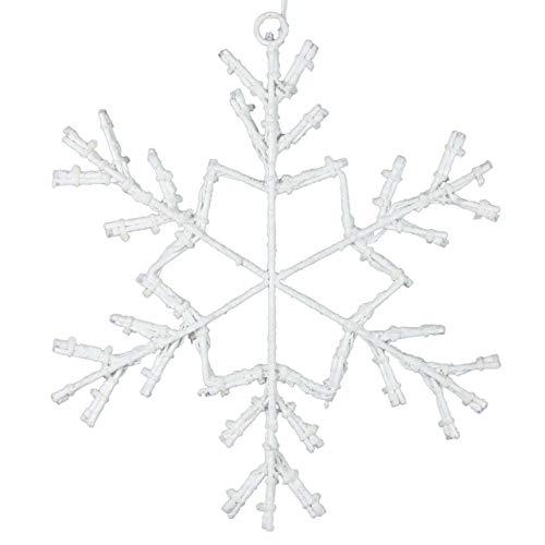 Schneeflocke 36 LED warm weiß mit Schneeoptik Ø 30 cm Fensterbild Fensterlicht Fensterdeko Trafo Timer Außendeko Weihnachtsdekoration Leuchtdeko Xmas