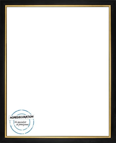 Napoli Bilderrahmen Massivholz mit vintage patiniertem Cottage Look und goldfarbener Innenkante 21,6 x 27,9 cm hochwertige Leiste 27,9 x 21,6 cm Farbwahl hier: Schwarzgold mit Acrylglas klar 1 mm