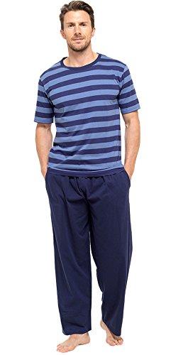 Insignia Herren Pyjama Set kurzärmeliges TOP & lange Hosen Hose Sommer (1 or 3er-Pack) - Marine und blau Streifen, XX-Large (Marine-blauer Streifen)