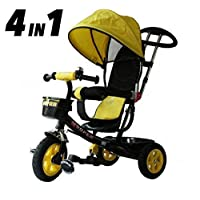 All Road Trikes Childs 4 in 1 Trike - Black & Yellow Push along Pedal Kids Tricycle CE Approved