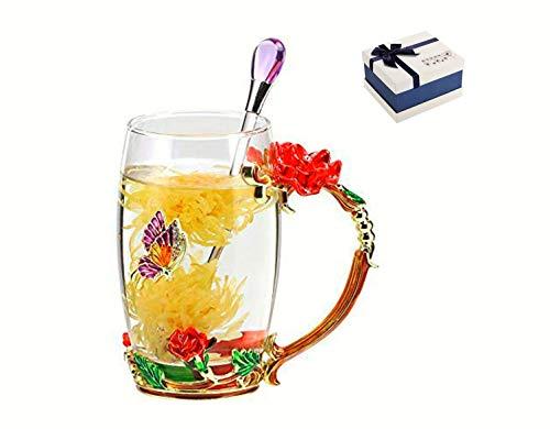 Do4U Frauen Einzigartige Neuheit 3D Blume Glas Kaffeetassen Tassen mit Löffel perfekt für Espresso, Wasser, Saft, Tee, heiße Getränke, Latte, Milch, Geschenk kurz (rote Rose, hoch)