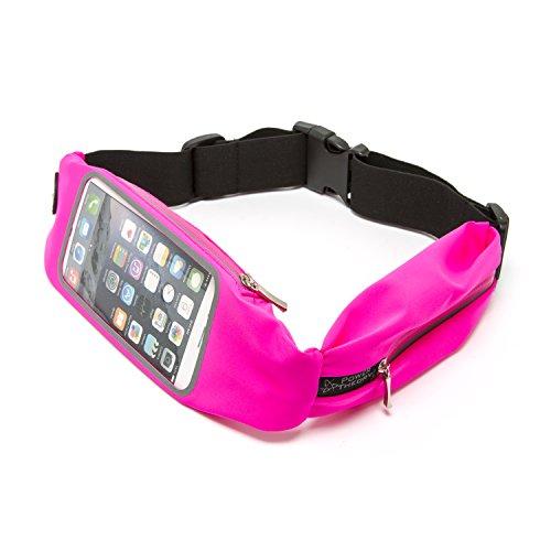 Power Theory Wasserresistente Unisex Sport Lauftasche Laufgürtel Bauchtasche Running Belt Ideale Tasche für Smartphone Handy Fitness Jogging Fahrradfahren Sporttasche (2 Fächer - Rosa)