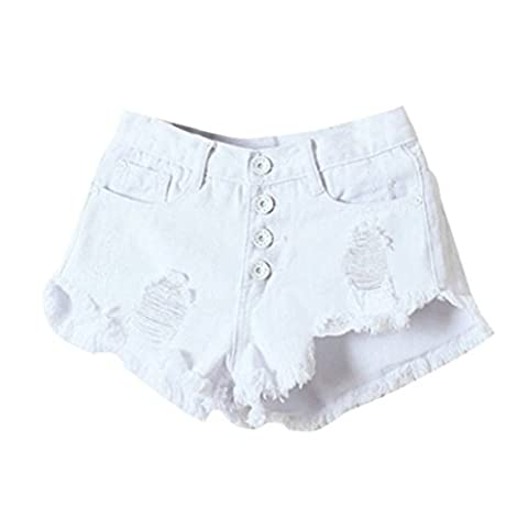Women's High Waisted Fashion Slim Fit Jeans Shorts White / M