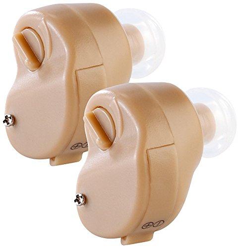 newgen medicals IdO Hörverstärker: Bügellose ITE-Hörverstärker mit Batterie-Betrieb, 2er-Set (Hörgeräte für Senioren)