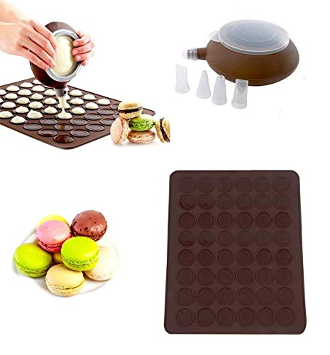 CESHUMD Macaron-Herstellungs-Set, 48 Kapazitäten, Silikon-Backmatte, Form-Modus + Dekorierstift, Zuckerguss-Tips mit 4 Düsen
