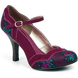 Ruby Shoo IMOGEN Vintage Floral Plum Riemchen Pin Up Heels PUMPS Rockabilly (42)