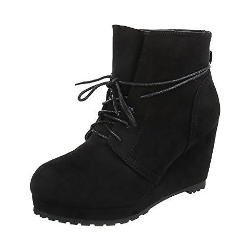 Keilstiefeletten Damen-Schuhe Plateau Keilabsatz/ Wedge Keilabsatz Schnürsenkel Ital-Design Stiefeletten Schwarz, Gr 41, (Keilabsatz Schwarz)