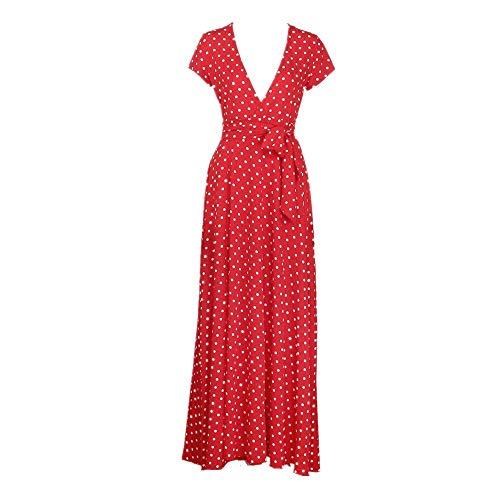 Robes Femme, Covermason Femmes d'été Bohème long soirée cocktail robe robe de plage habiller (M, Rouge)