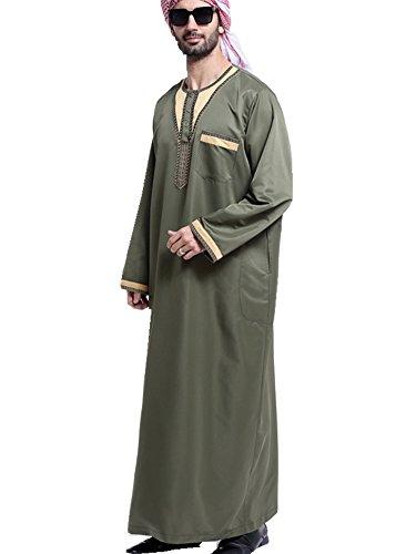 Muslim Kostüm Männer - Dreamskull Muslim Abaya Dubai Muslimisch Islamisch Arab Arabisch Indien Türkisch Casual Festlich Kaftan Robe Kleid Maxikleid Herren Männer (L, Grün)